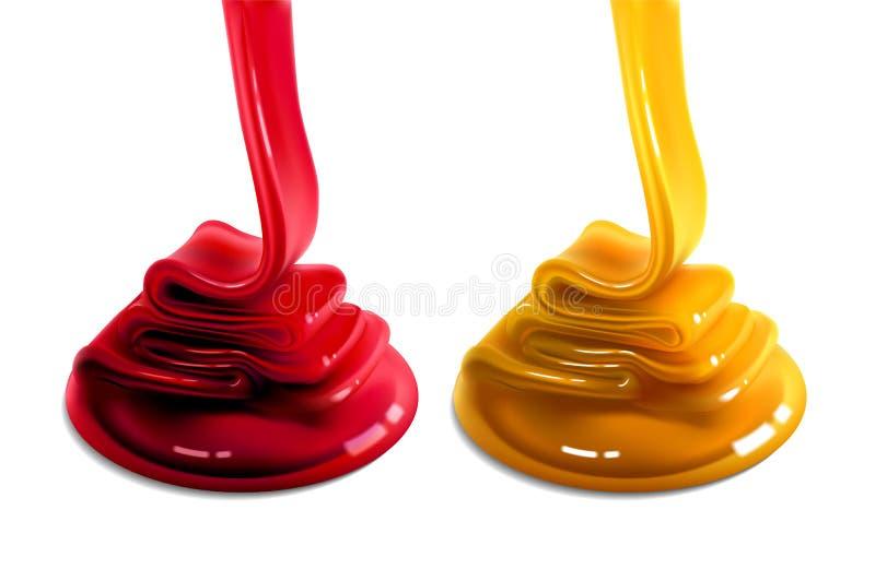 Dwa karmelu strumienia żółtego i czerwonego koloru przepływ powierzchnia 3d wektor Wysokości szczegółowa realistyczna ilustracja ilustracji