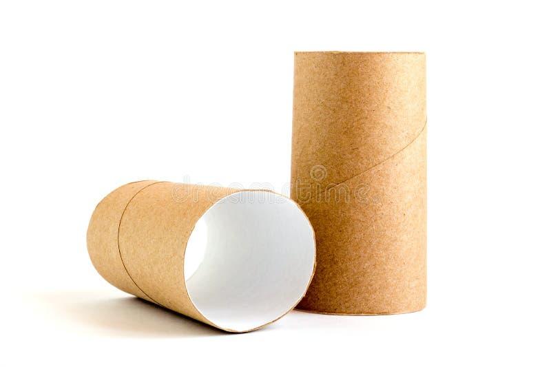Dwa karton papierowej tubki na białym tle W górę pustych toaletowych rolek obrazy stock