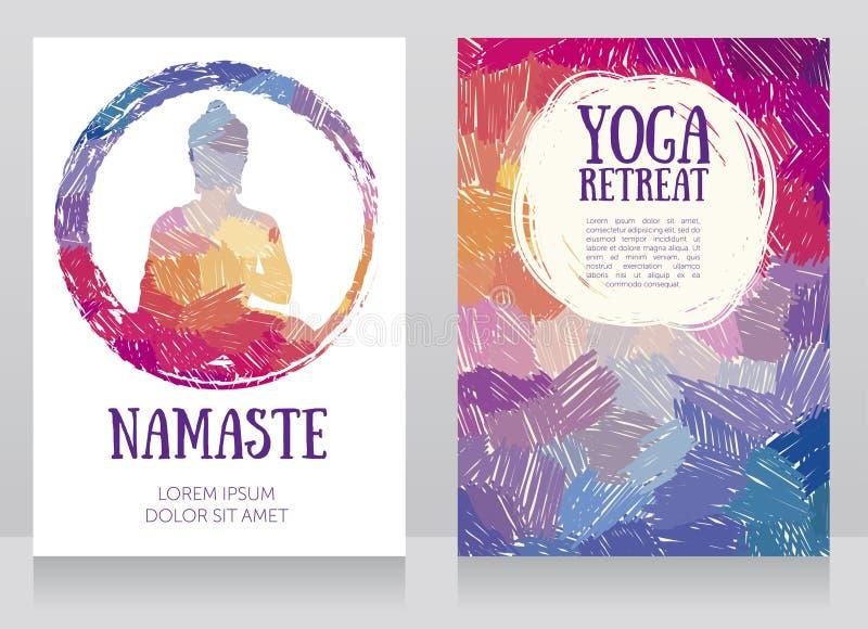 Dwa karty dla joga studia z Buddha sylwetką na artystycznym tle ilustracji