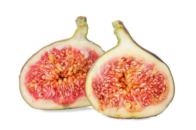 Dwa kawałka świeża figi owoc odizolowywająca na białym tle obraz stock