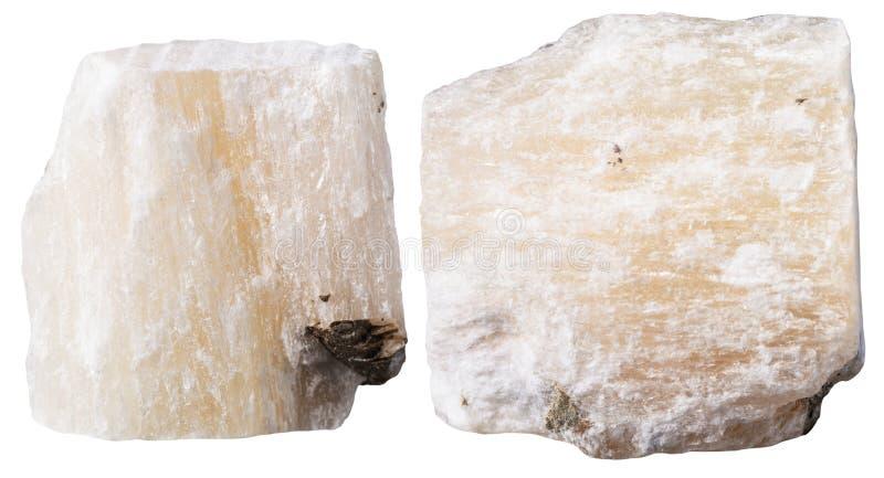 Dwa kawałka gipsowy kopalina kamień (alabastrowy) obrazy stock