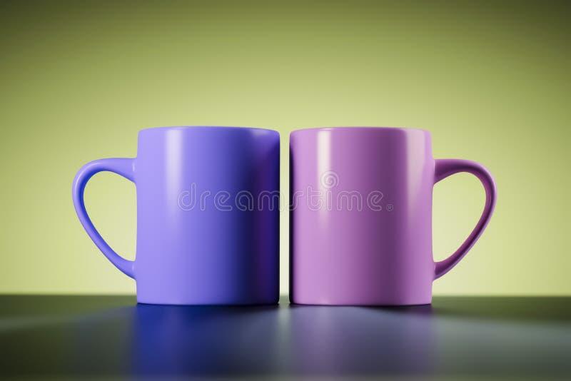 Dwa kawowego kubka ilustracja wektor