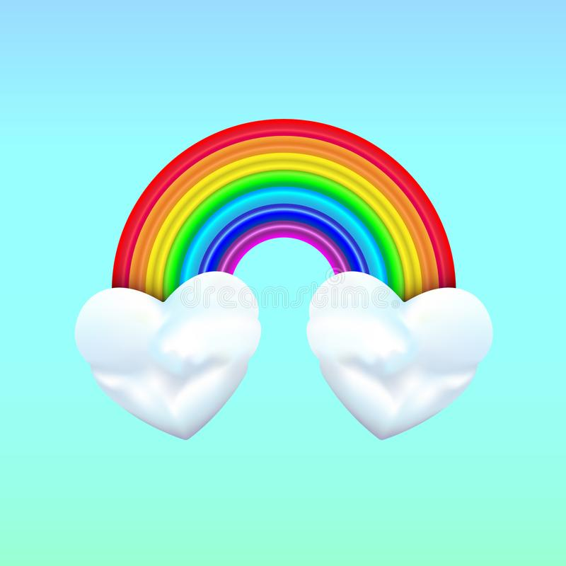 Dwa kierowej chmury z tęczą na błękitnym tle Bardzo chłodno jest kombinacja, kiedy właściwie łączyliśmy dwa serca wpólnie ilustracji
