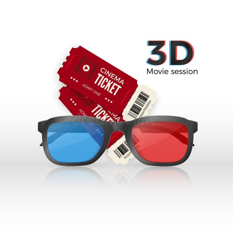 Dwa kinowego bileta 3d plastikowi szkła z czerwonym i błękitnym szkłem r?wnie? zwr?ci? corel ilustracji wektora royalty ilustracja