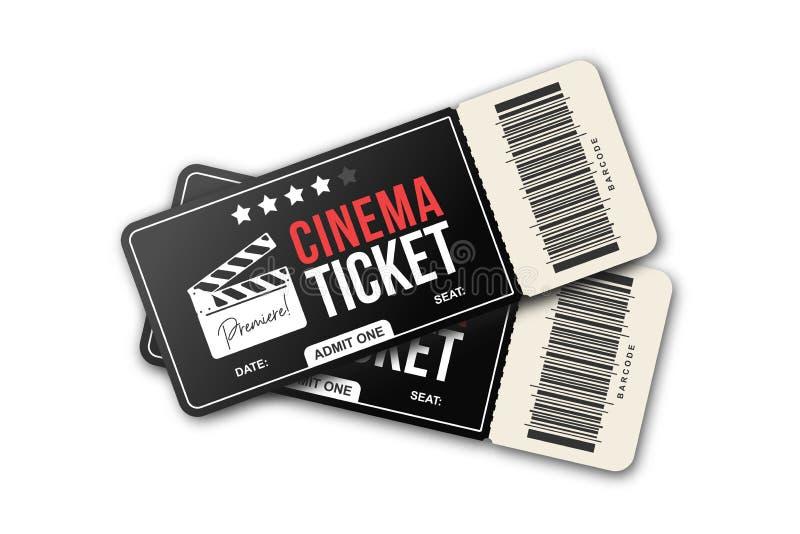 Dwa kinowego bileta na białym tle Filmów biletów szablon w czarnych i czerwonych kolorach ilustracji