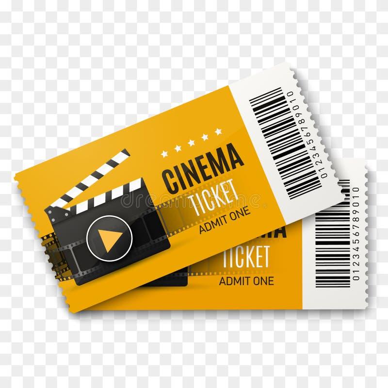 Dwa kinowego bileta odizolowywającego na przejrzystym tle rabatowy bobek opuszczać dębowego faborków szablonu wektor ilustracji