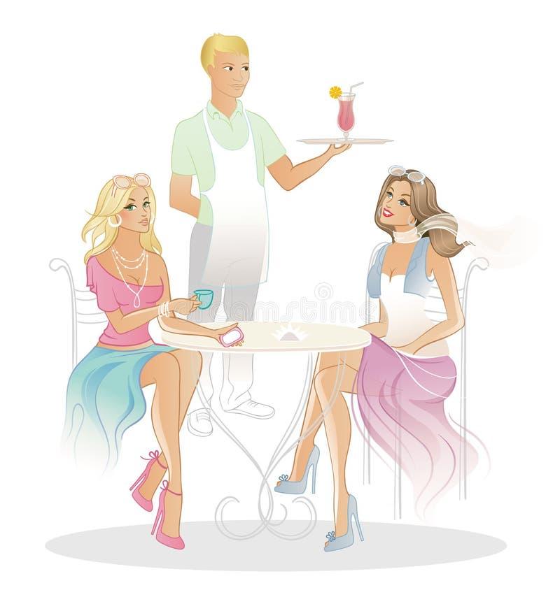 Dwa kobieta w kawa domu royalty ilustracja