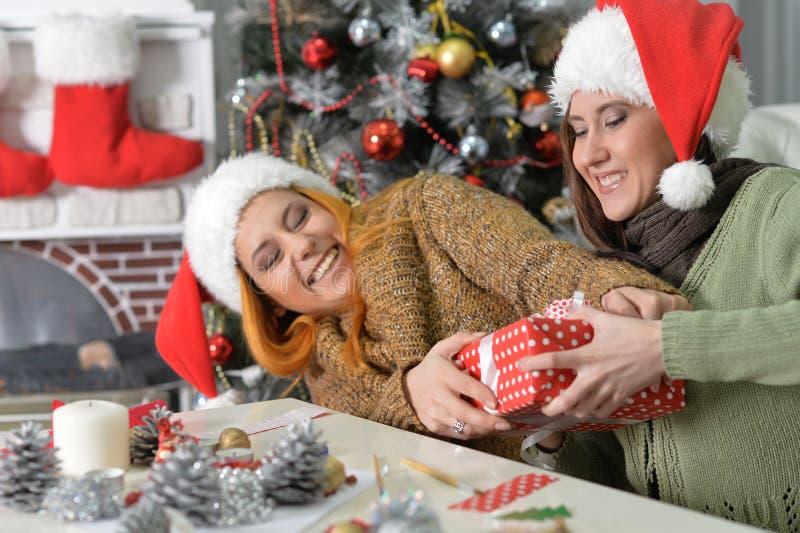 Dwa kobiety świętuje Chrismas obraz royalty free