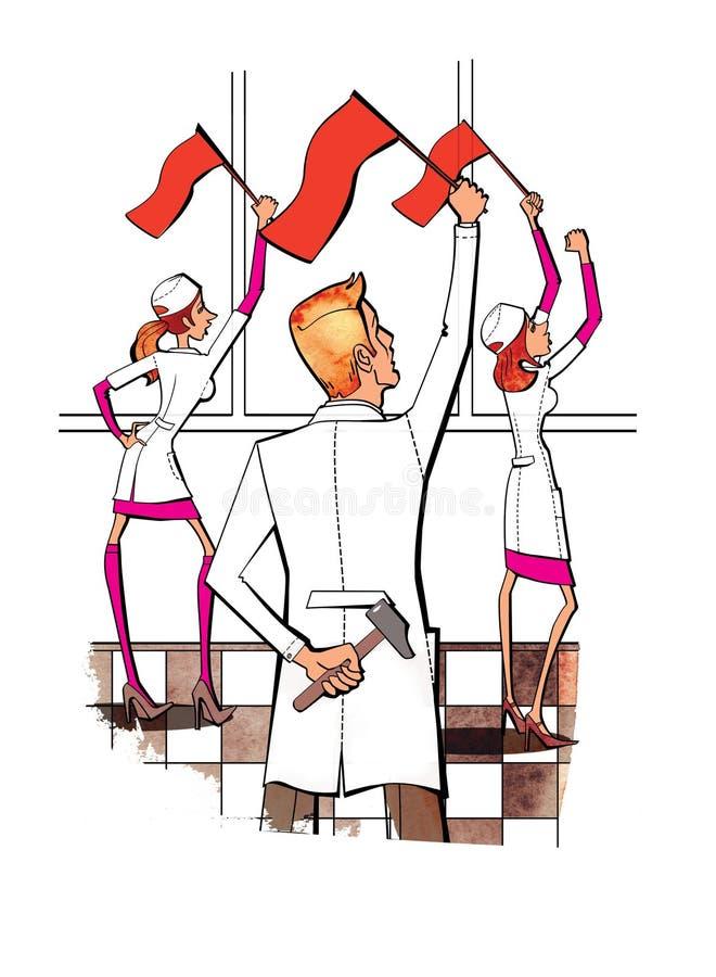 Dwa kobiety i m??czyzna w bielu munduruj? z czerwonymi flagami w ich r?kach M?ot za m??czyzn? w r?ce oklepiec obl??enie protest ilustracja wektor