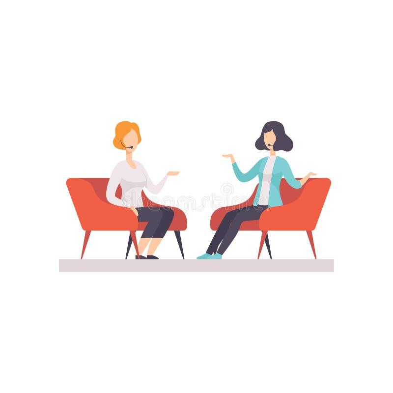 Dwa kobiety opowiada w TV studiu, wywiad telewizyjny, program dyskusyjny wektorowa ilustracja odizolowywająca ilustracji