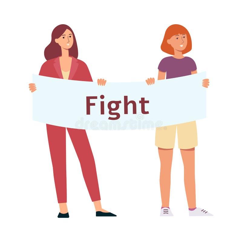 Dwa kobiety stoją mienie protestacyjnego plakat z walki kreskówki wpisowym stylem ilustracja wektor