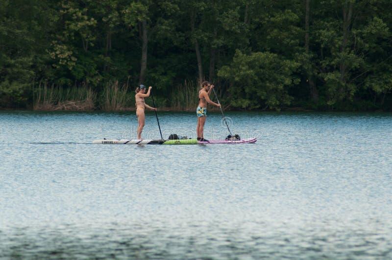 Dwa kobiety wiosłuje dalej stoją up paddle knura na jeziorze zdjęcia royalty free
