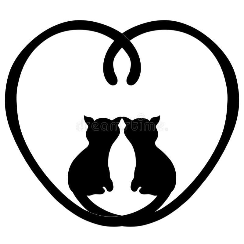 Dwa kochającego kota w sercu ogony ilustracja wektor