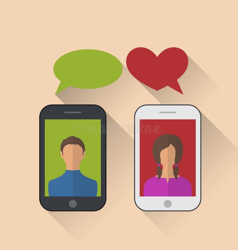 Dwa kochanka komunikuje z telefonami komórkowymi, nowożytny płaski sty ilustracji
