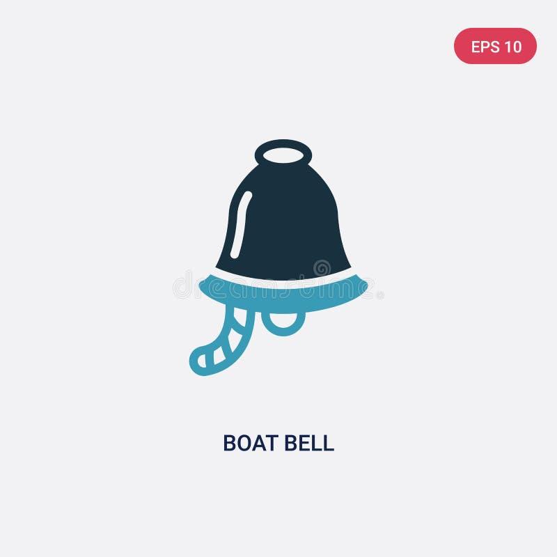Dwa kolorów łódkowata dzwonkowa wektorowa ikona od nautycznego pojęcia odosobniony błękitny łódkowaty dzwonkowy wektoru znaka sym royalty ilustracja