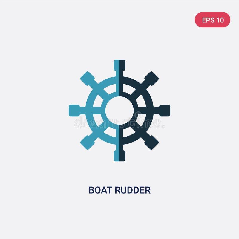 Dwa kolorów łódkowatego rudder wektorowa ikona od ludzi umiejętności pojęcia odosobniony błękitny łódkowaty rudder wektoru znaka  ilustracji