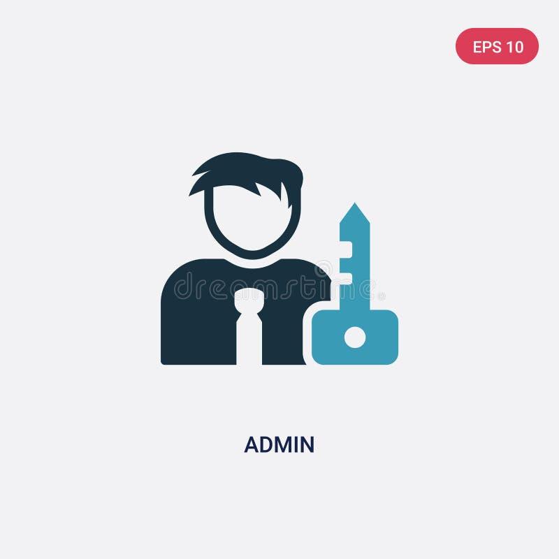 Dwa kolorów admin wektorowa ikona od strategii pojęcia odosobniony błękita admin wektoru znaka symbol może być używa dla sieci, w ilustracja wektor