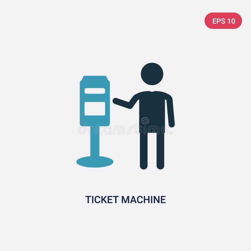 Dwa kolorów biletowa maszynowa wektorowa ikona od ludzi pojęć odosobniony błękitny biletowy maszynowy wektoru znaka symbol może b ilustracja wektor