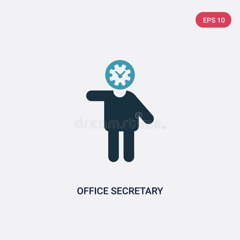 Dwa kolorów biurowej sekretarki wektorowa ikona od ludzi pojęć odosobniony błękitny biurowy sekretarka wektoru znaka symbol może  ilustracji