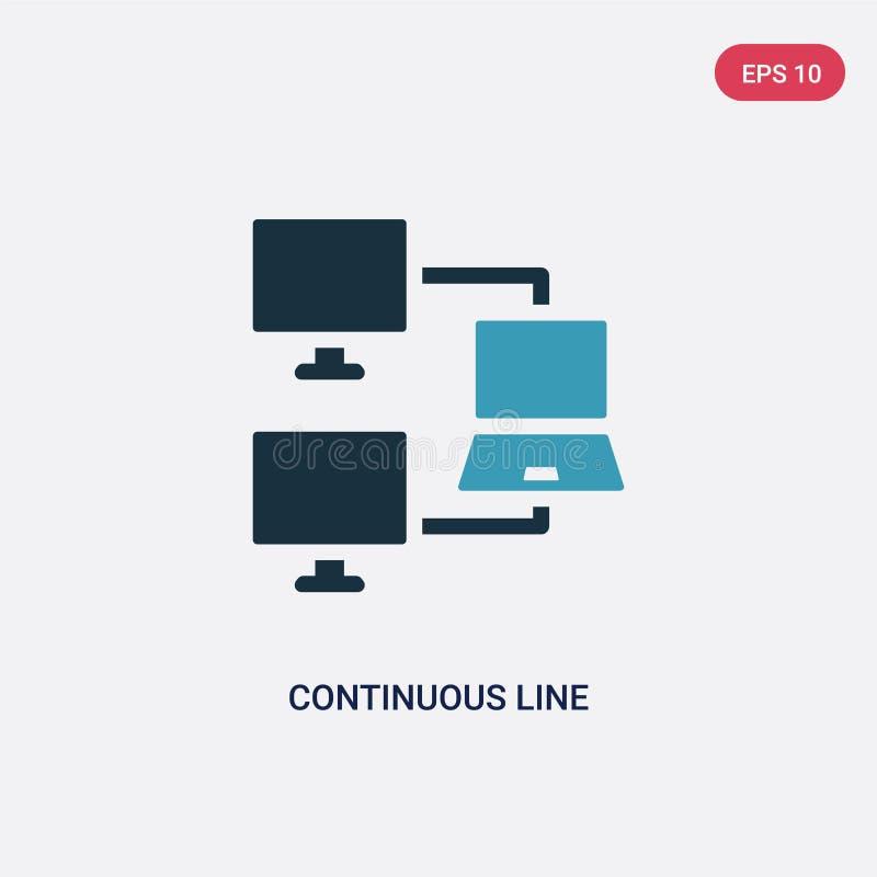 Dwa kolorów ciągłej linii wektorowa ikona od networking pojęcia odosobniony błękitny ciągłej linii wektoru znaka symbol może być  royalty ilustracja