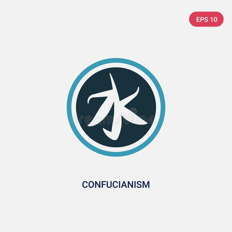 Dwa kolorów confucianism wektorowa ikona od religii pojęcia odosobniony błękitny confucianism wektoru znaka symbol może być używa ilustracji