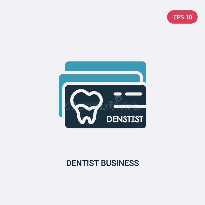 Dwa kolorów dentysty wizytówki wektorowa ikona od innego pojęcia odosobniony błękitny dentysta wizytówki wektoru znaka symbol moż ilustracja wektor