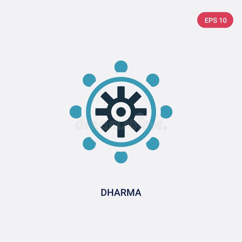 Dwa kolorów dharma wektorowa ikona od religii pojęcia odosobniony błękitny dharma wektoru znaka symbol może być używa dla sieci,  royalty ilustracja
