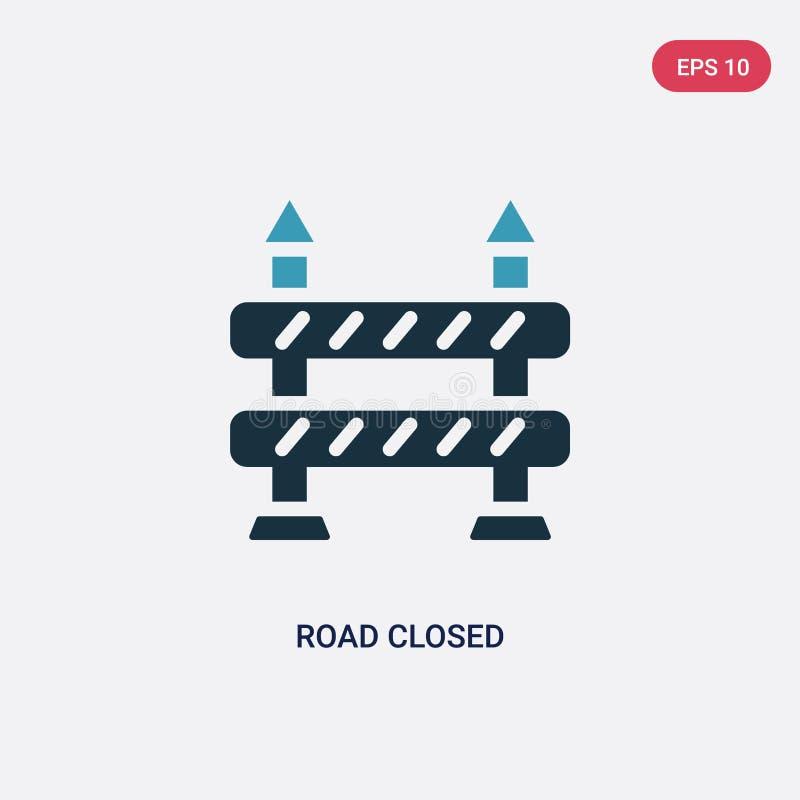 Dwa kolorów droga zamykał wektorową ikonę od sygnalizacyjnego pojęcia odosobniona błękitna droga zamykający wektoru znaka symbol  royalty ilustracja