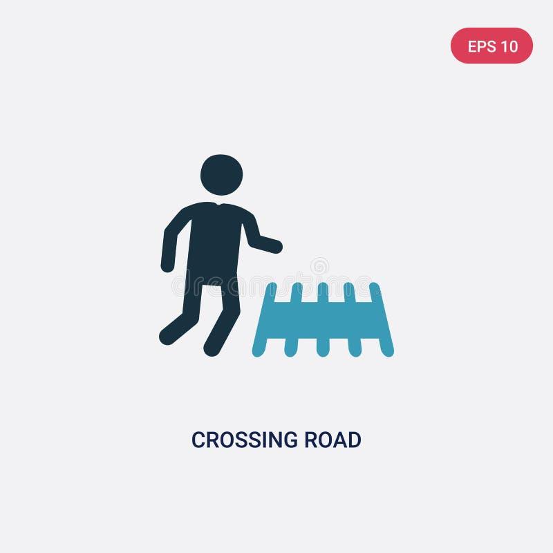 Dwa kolorów drogowej wektorowej ikony od ludzi pojęć skrzyżowanie odosobniony błękitny skrzyżowanie drogowego wektoru znaka symbo ilustracji