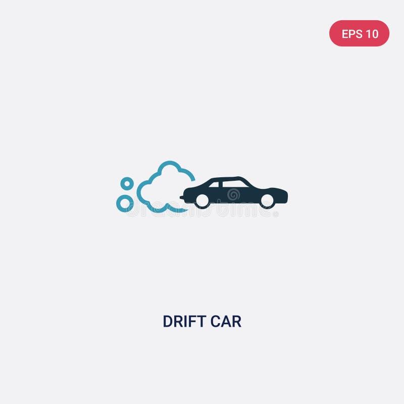 Dwa kolorów dryftowa samochodowa wektorowa ikona od sporta pojęcia odosobnionego błękita dryfu wektoru znaka samochodowy symbol m royalty ilustracja