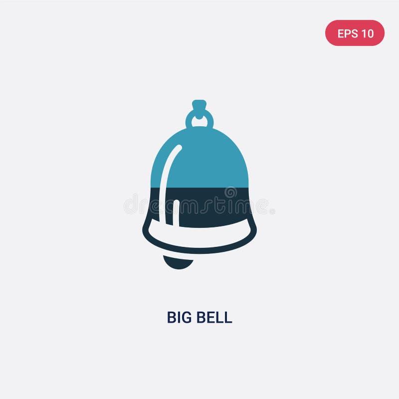 Dwa kolorów duża dzwonkowa wektorowa ikona od nautycznego pojęcia odosobniony błękitny duży dzwonkowy wektoru znaka symbol może b ilustracja wektor