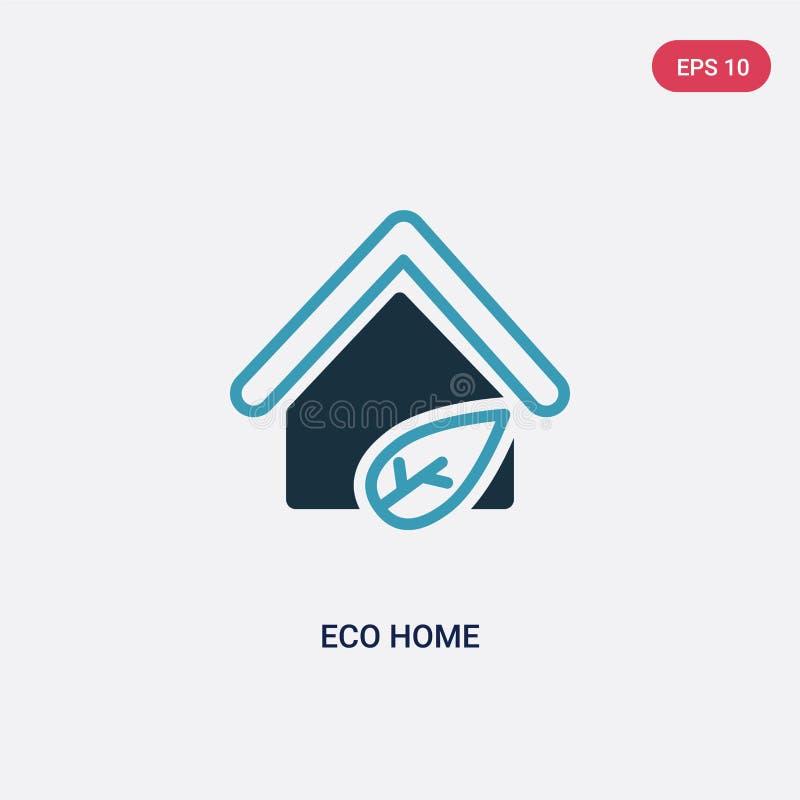 Dwa kolorów eco domu wektorowa ikona od mądrze domowego pojęcia odosobniony błękitny eco domu wektoru znaka symbol może być używa ilustracji