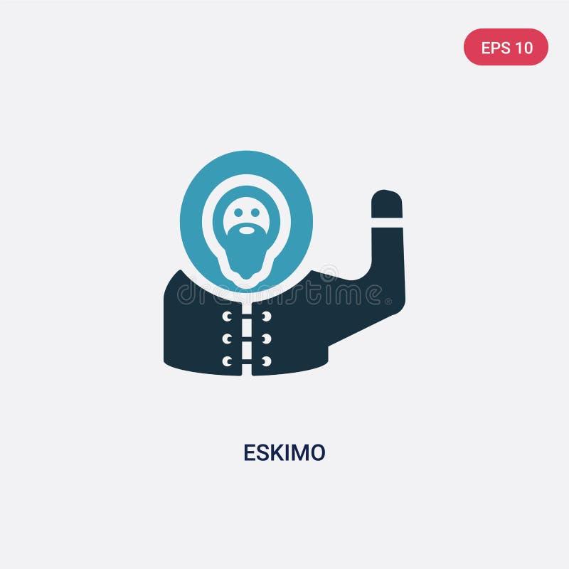 Dwa kolorów eskimo wektorowa ikona od smileys pojęcia odosobniony błękitny eskimo wektoru znaka symbol może być używa dla sieci,  ilustracji