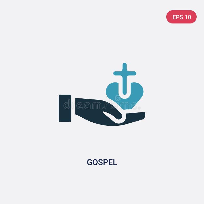 Dwa kolorów ewangelii wektorowa ikona od religii pojęcia odosobniony błękitny ewangelia wektoru znaka symbol może być używa dla s royalty ilustracja
