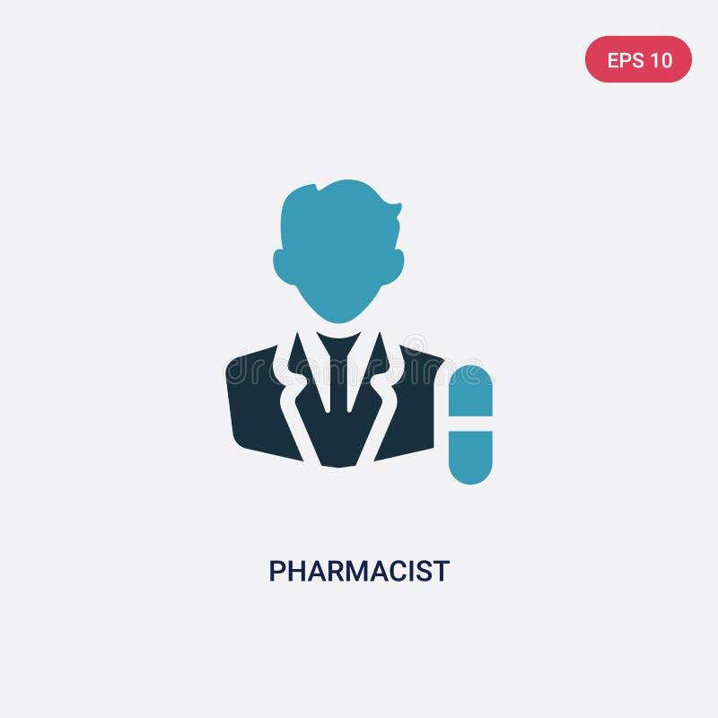 Dwa kolorów farmaceuty wektorowa ikona od zawodu pojęcia odosobniony błękitny farmaceuta wektoru znaka symbol może być używa dla  ilustracja wektor