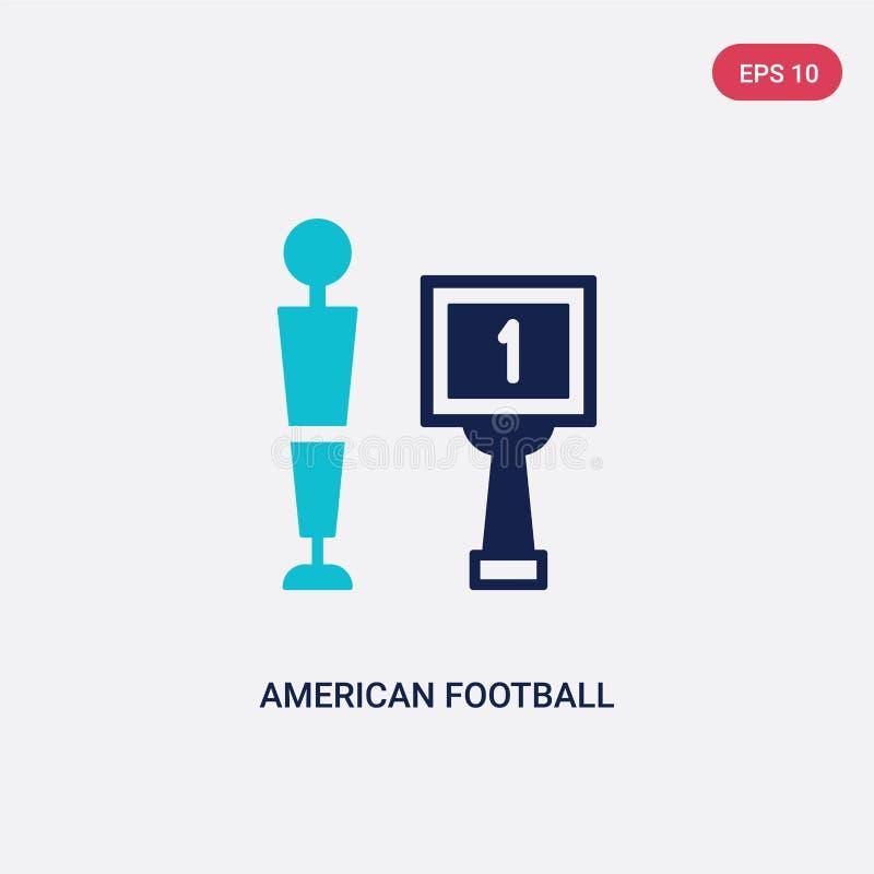 Dwa kolorów futbolu amerykańskiego wektorowa ikona od pojęcia odosobniony błękitny futbolu amerykańskiego wektoru znaka symbol mo ilustracji