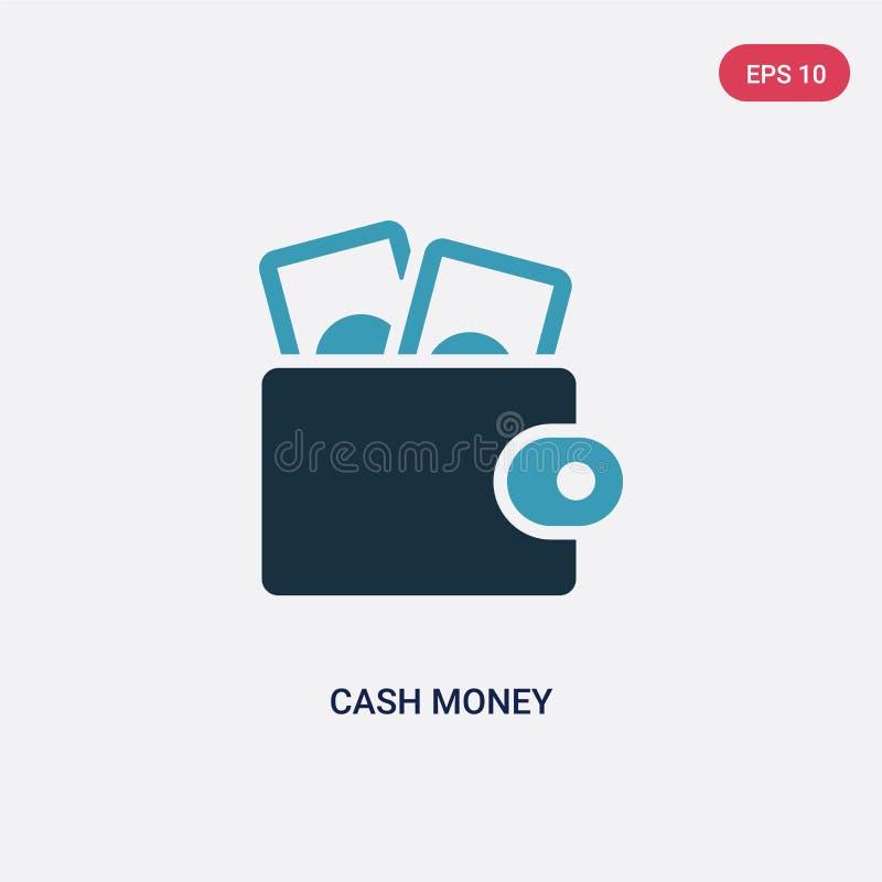 Dwa kolorów gotówkowego pieniądze wektorowa ikona od płatniczego metody pojęcia odosobniony błękit gotówki pieniądze wektoru znak royalty ilustracja
