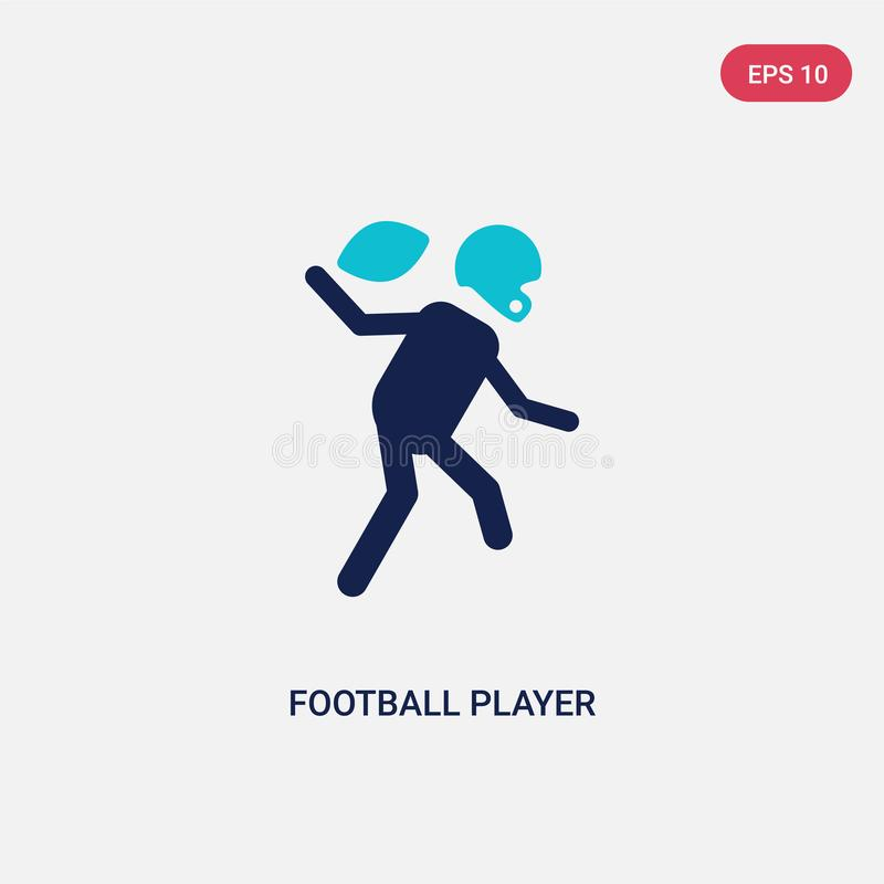 Dwa kolorów gracz futbolu wektorowa ikona od futbolu amerykańskiego pojęcia odosobniony błękitny gracz futbolu wektoru znaka symb ilustracja wektor