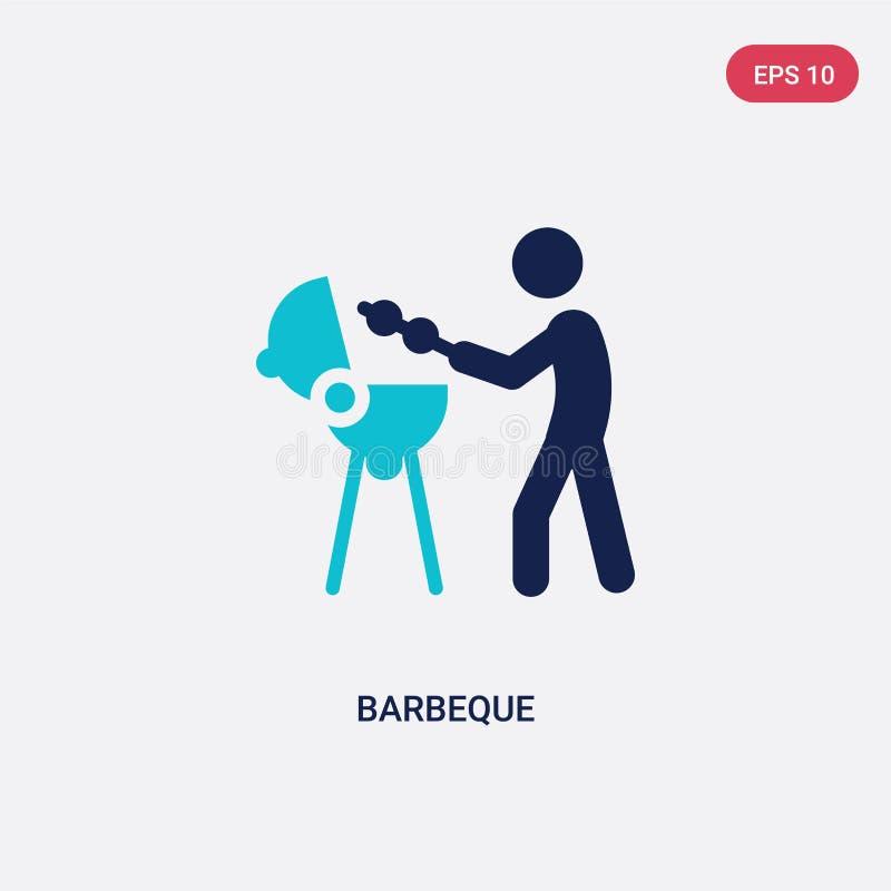 dwa kolorów grilla wektorowa ikona od aktywności i hobby pojęcia odosobniony błękitny grilla wektoru znaka symbol może być używa  ilustracja wektor