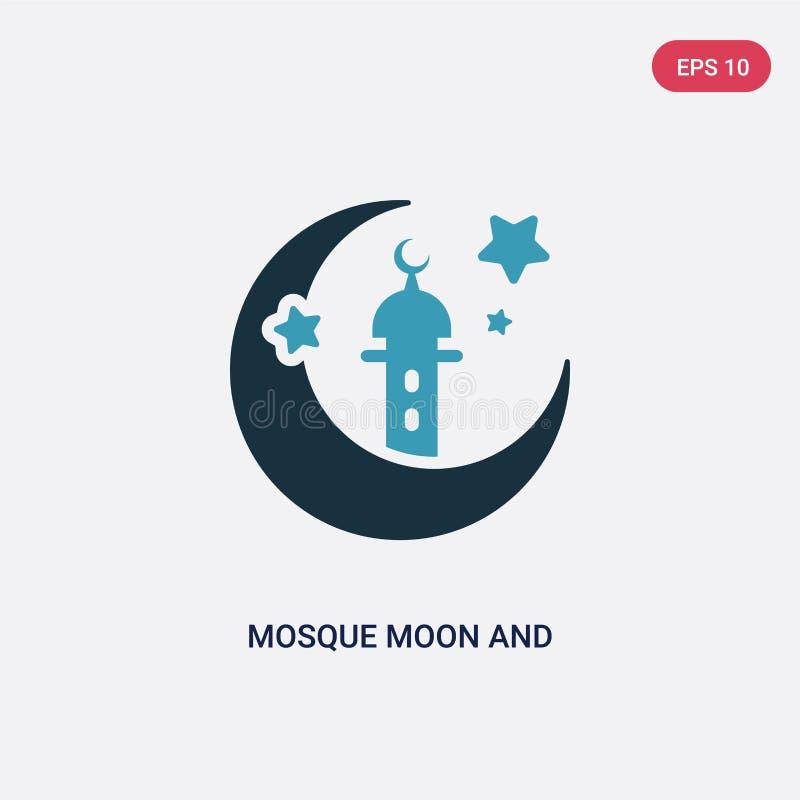 Dwa kolorów gwiazdy i księżyc meczetowa wektorowa ikona od innego pojęcia odosobniony błękitny meczetowy księżyc i gwiazdy wektor ilustracja wektor