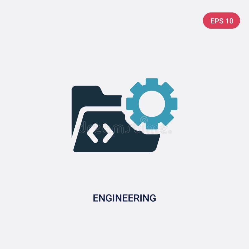 Dwa kolorów inżynierii wektorowa ikona od programowania pojęcia odosobniony błękitny inżynieria wektoru znaka symbol może być uży royalty ilustracja