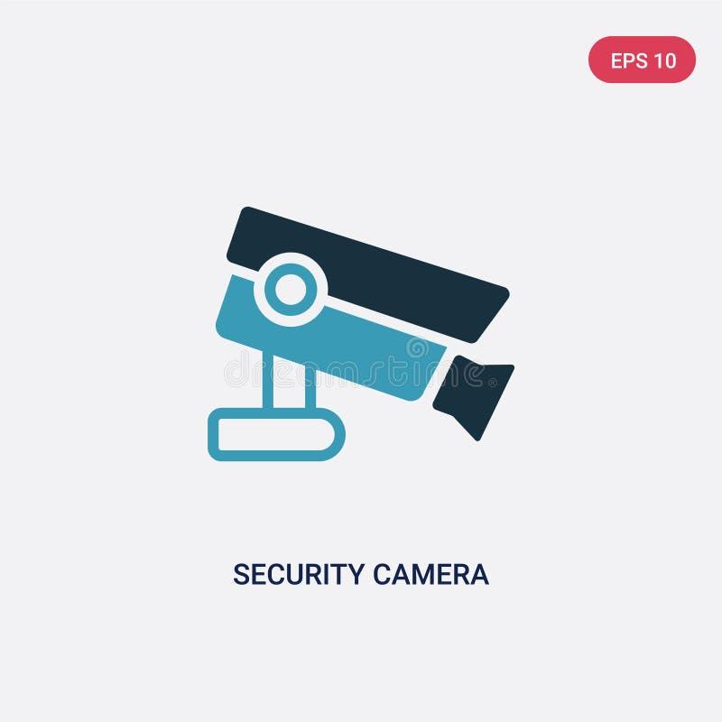 Dwa kolorów kamery bezpieczeństwej wektorowa ikona od mądrze domowego pojęcia odosobniony błękitny kamera bezpieczeństwa wektoru  ilustracji