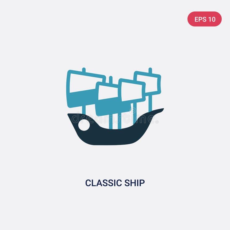 Dwa kolorów klasycznego statku wektorowa ikona od nautycznego pojęcia odosobniony błękitny klasyczny statku wektoru znaka symbol  royalty ilustracja