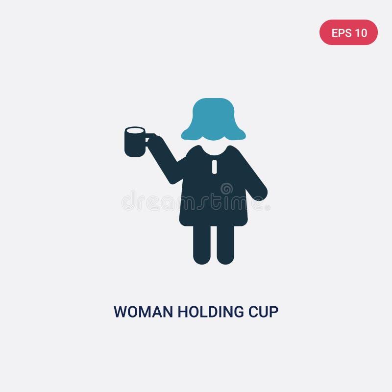 Dwa kolorów kobieta trzyma filiżanki wektorową ikonę od ludzi pojęć odosobniona błękitna kobieta trzyma filiżanka wektoru znaka s ilustracja wektor