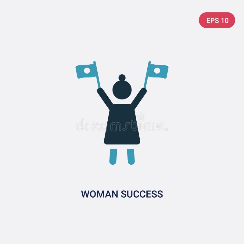 Dwa kolorów kobiety sukcesu wektorowa ikona od seo i sieci pojęcia odosobniony błękitny kobieta sukcesu wektoru znaka symbol może ilustracja wektor