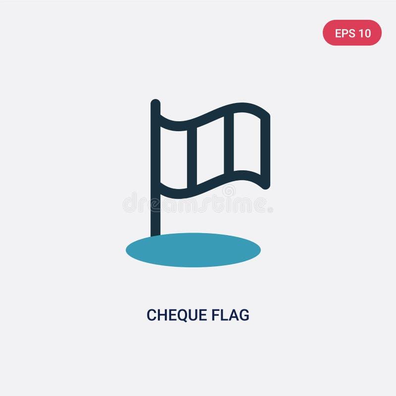 Dwa kolorów kratki flagi wektorowa ikona od sporta pojęcia odosobniony błękitny kratki flagi wektoru znaka symbol może być używa  royalty ilustracja