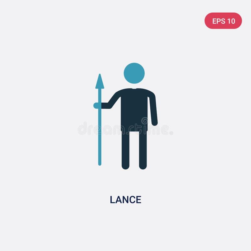 Dwa kolorów lancy wektorowa ikona od ludzi pojęć odosobniony błękitny lanca wektoru znaka symbol może być używa dla sieci, wisząc royalty ilustracja
