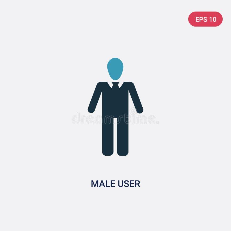 Dwa kolorów męskiego użytkownika wektorowa ikona od ludzi pojęć odosobniony błękitny męski użytkownika wektoru znaka symbol może  ilustracji
