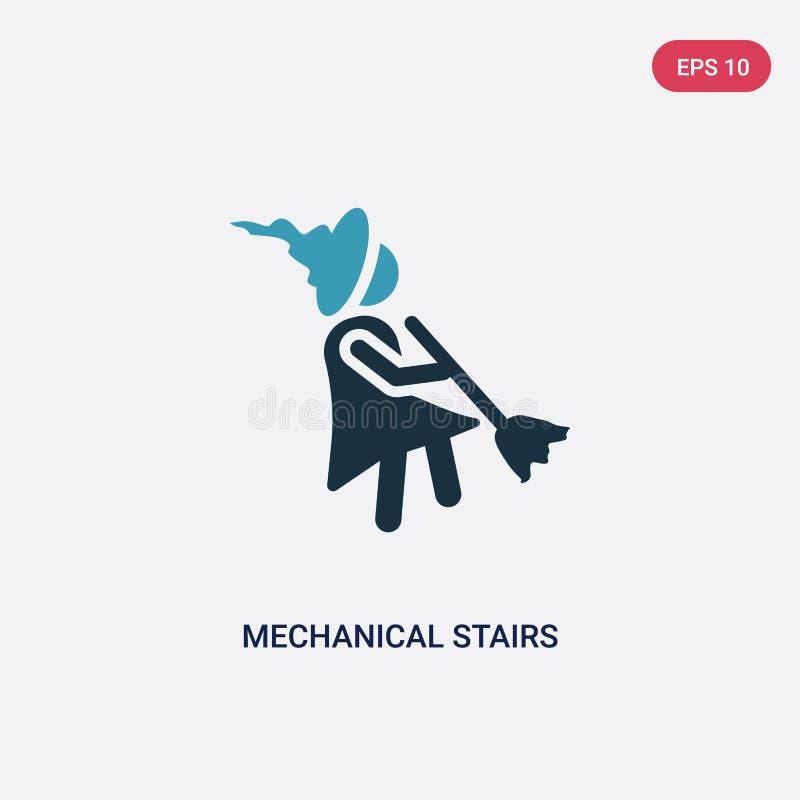 Dwa kolorów machinalnych schodków wektorowa ikona od ludzi pojęć odosobneni błękitni machinalni schodki używają dla sieci wektoru royalty ilustracja