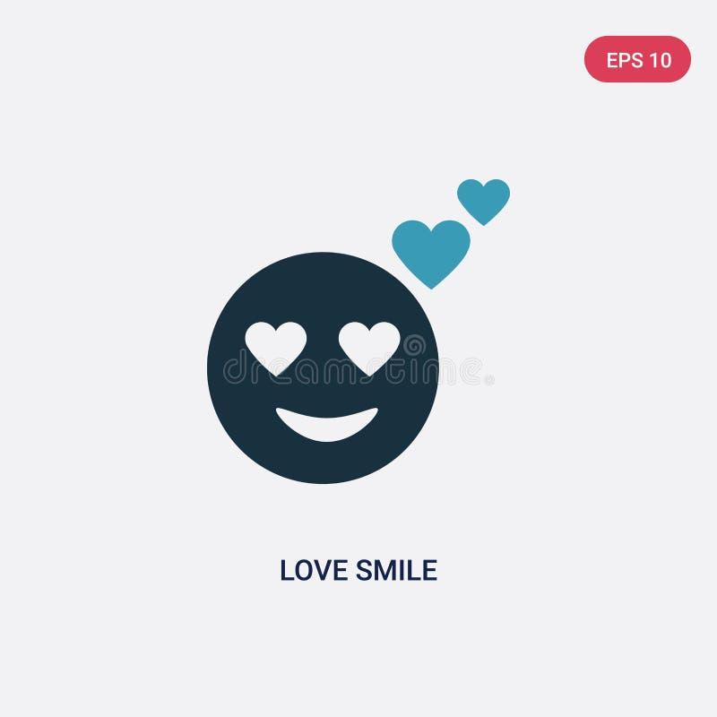 Dwa kolorów miłości uśmiechu wektorowa ikona od smileys pojęcia odosobniony błękitny miłość uśmiechu wektoru znaka symbol może by ilustracji